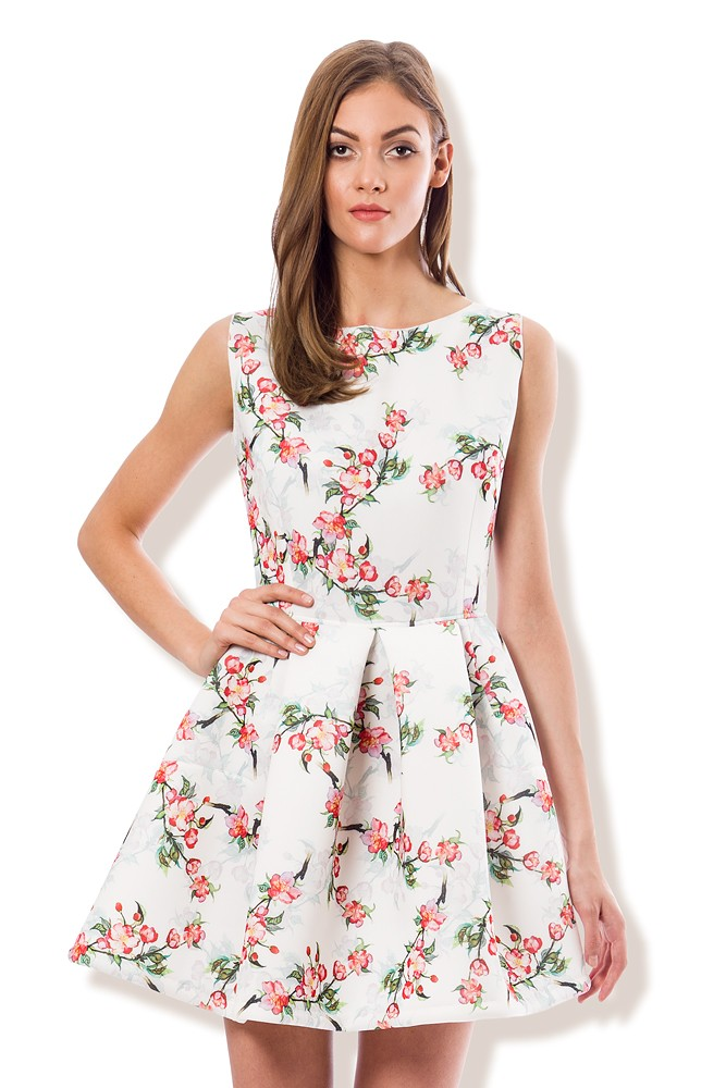 Rochie alba cu flori MISCHA