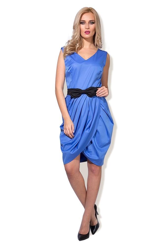 Rochie albastra cu funda neagra MISCHA