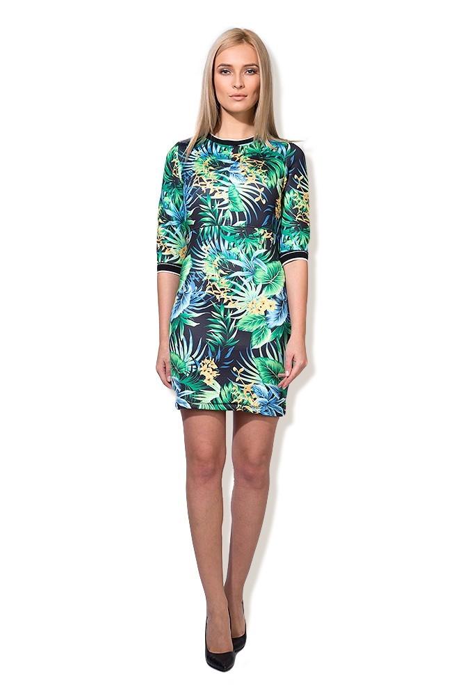Rochie cu imprimeu verde floral MISCHA