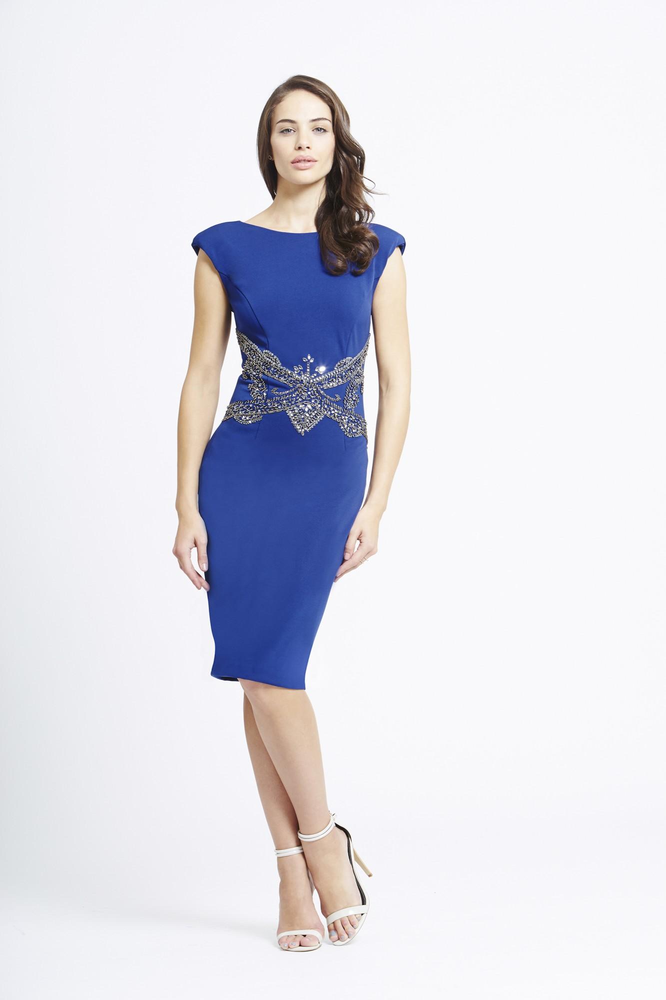 Rochie de ocazie albastru roial LITTLE MISTRESS cu aplicatii pe talie