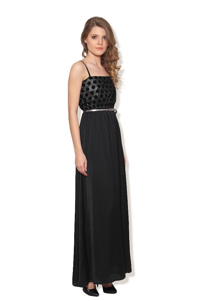 Rochie neagra lunga eleganta MISCHA