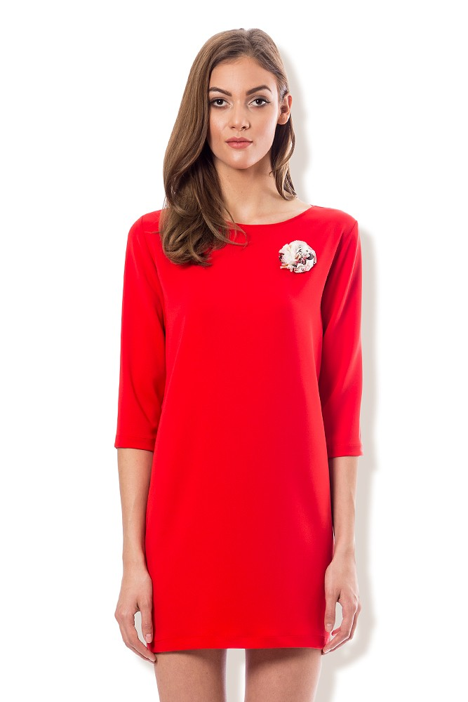 Rochie rosie scurta cu floare MISCHA