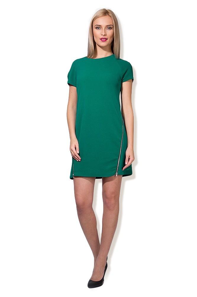 Rochie verde cu fermoar lateral MISCHA
