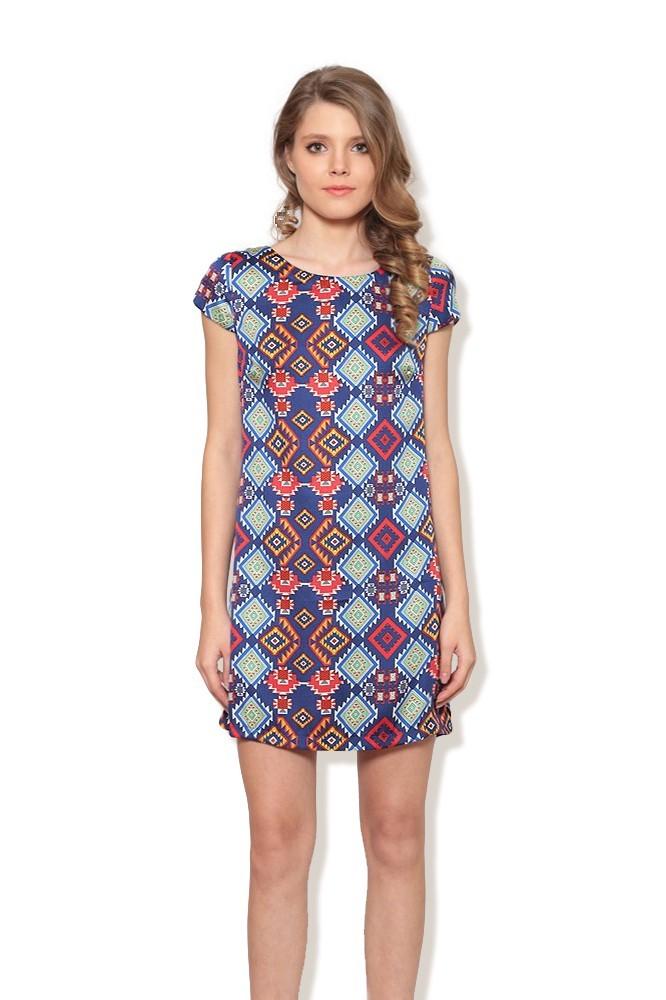 Rochie albastra cu model MISCHA
