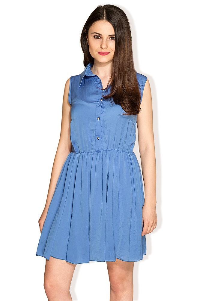 Rochie albastra cu nasturi MISCHA