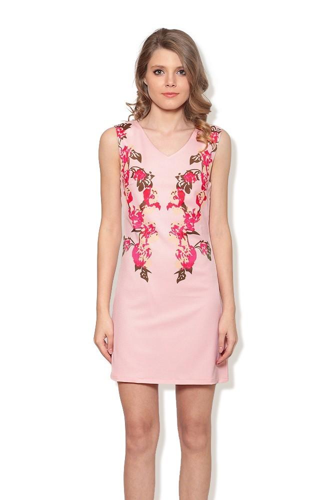 Rochie roz pal cu model floral MISCHA