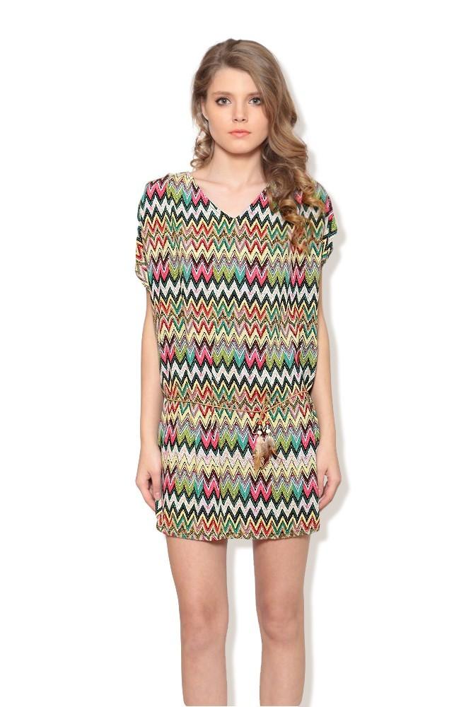 Rochie verde cu pana MISCHA