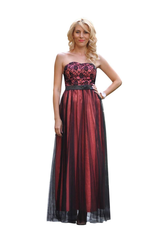Rochie corai de ocazie cu voal negru