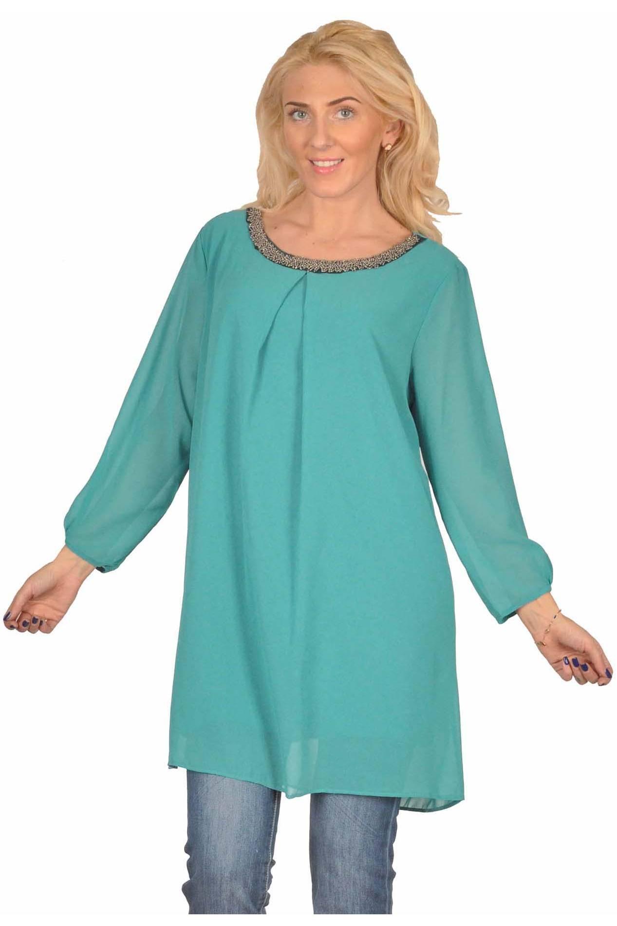 Rochie tunica verde de ocazie cu aplicatii decolteu