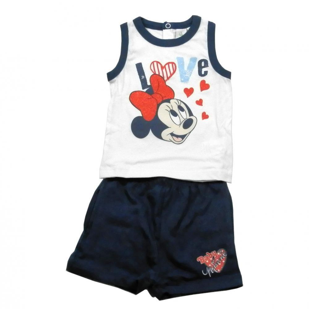 Set tricou fara maneci si pantaloni scurti Disney Minnie Mouse Bleumarin 24 luni