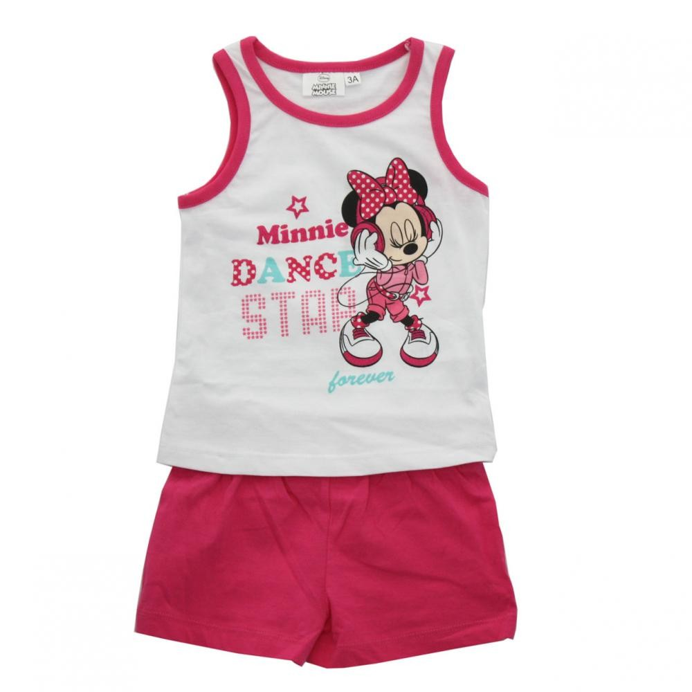 Set tricou fara maneci si pantaloni scurti Disney Minnie Mouse Roz 3 ani