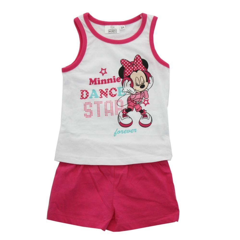 Set tricou fara maneci si pantaloni scurti Disney Minnie Mouse Roz 8 ani