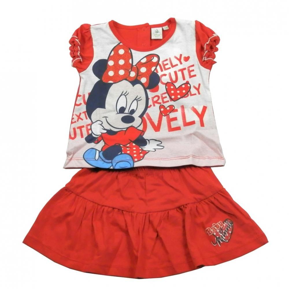 Set tricou cu maneci scurte si fusta Disney Minnie Mouse Rosu 18 luni