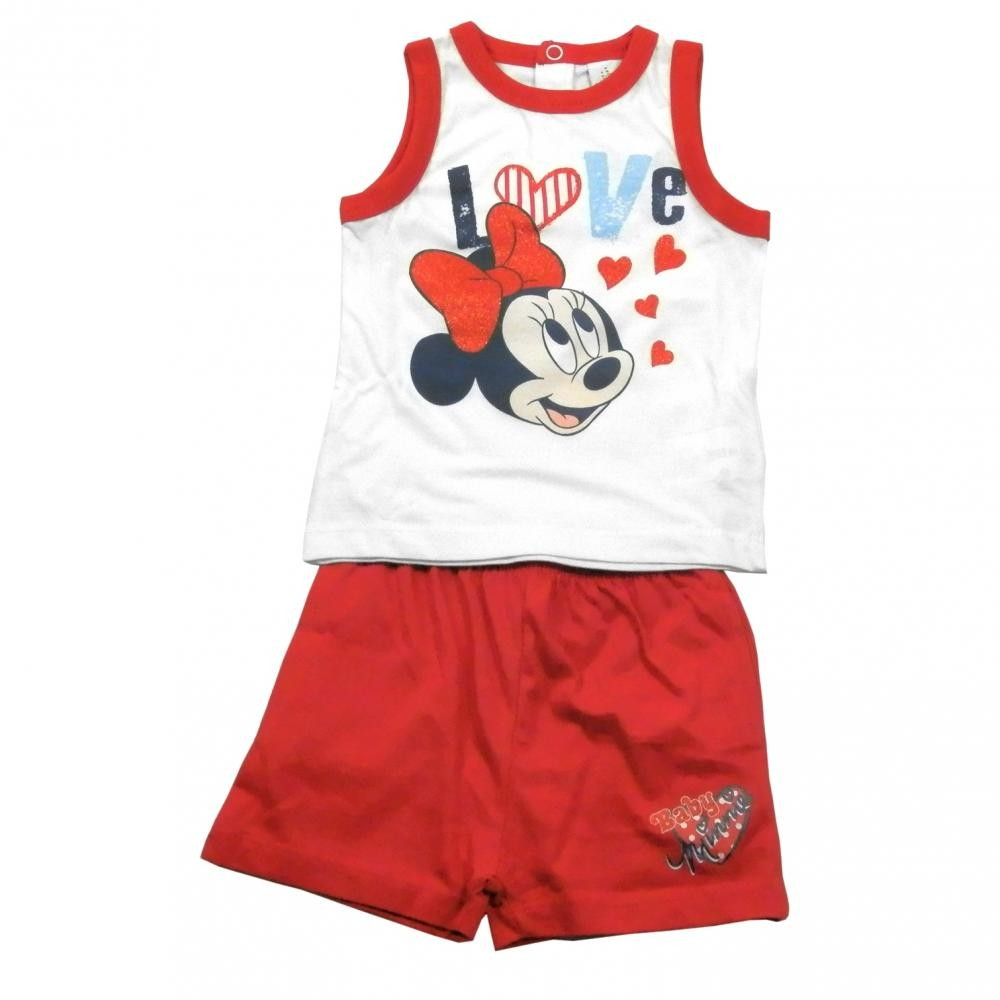 Set tricou fara maneci si pantaloni scurti Disney Minnie Mouse Rosu 12 luni