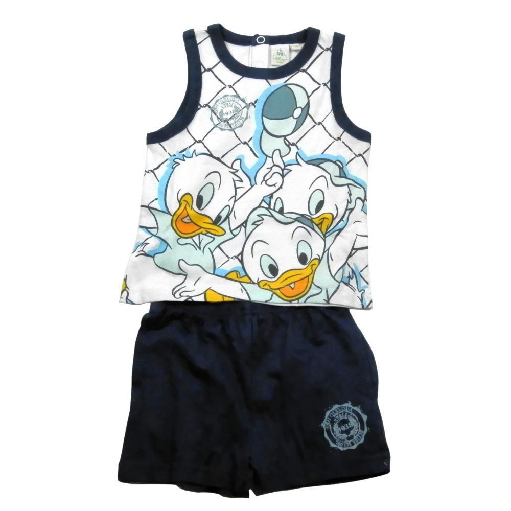 Set tricou fara maneci si pantaloni scurti Disney Donald Bleumarin 12 luni