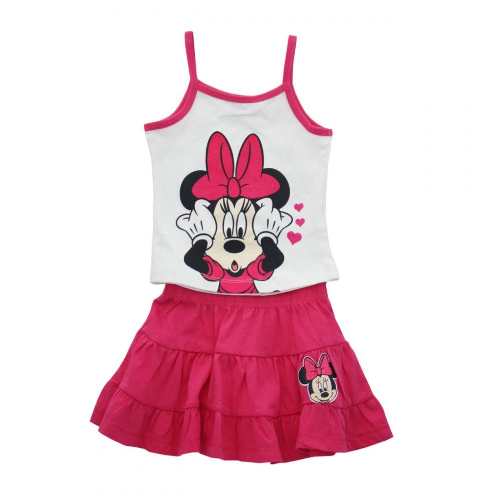 Set tricou fara maneci si fusta Disney Minnie Mouse Fucsia 7 ani