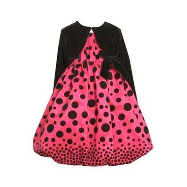 Set rochita si bolero Bonnie Jean din shantung cu imprimeu buline