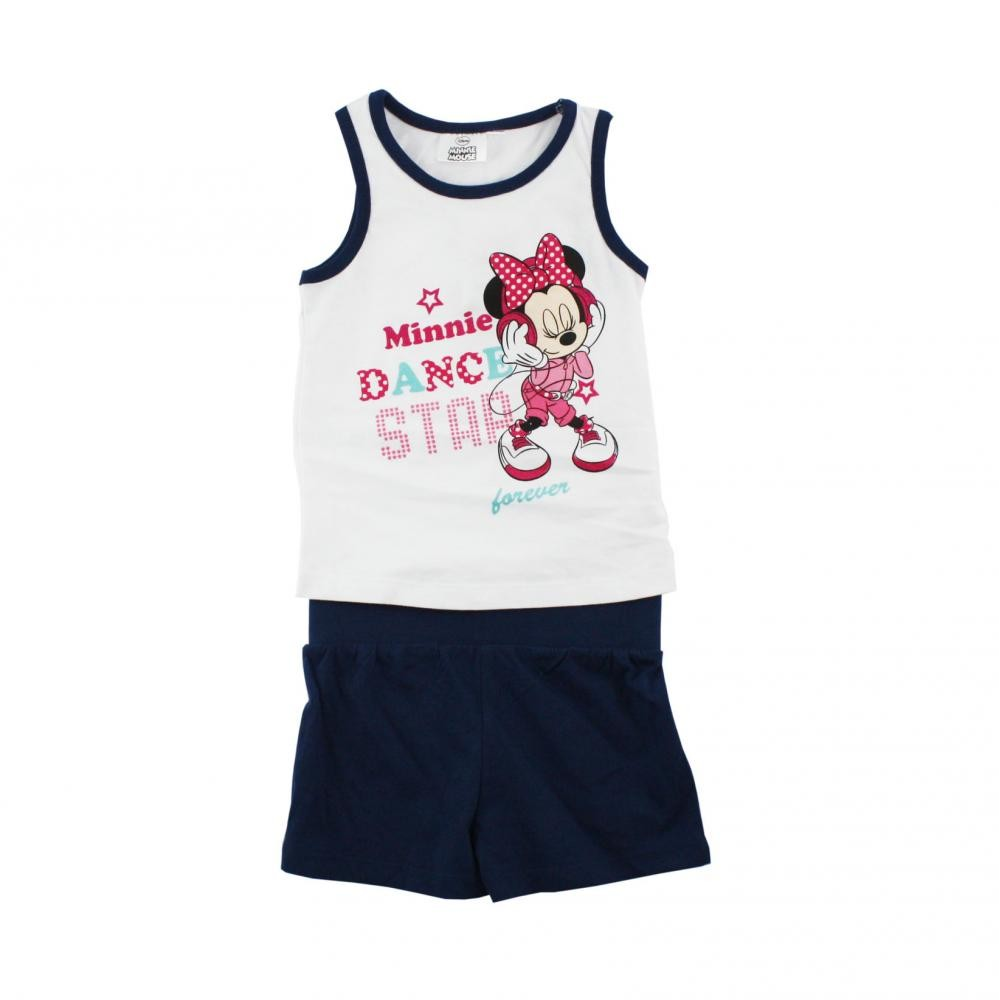 Set tricou fara maneci si pantaloni scurti Disney Minnie Mouse Bleumarin 8 ani