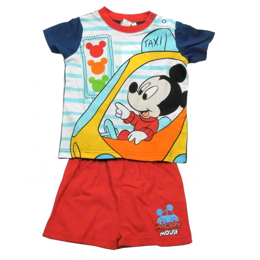 Set tricou cu maneci scurte si pantaloni scurti Disney Mickey Mouse Rosu 24 luni