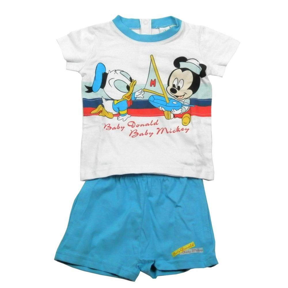 Set tricou cu maneci scurte si pantaloni scurti Disney Disney Classics Bleu 12 luni