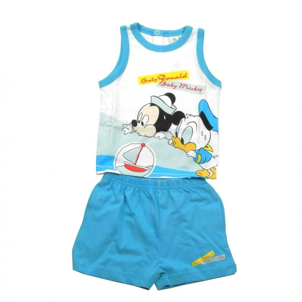 Set tricou fara maneci si pantaloni scurti Disney Disney Classics Bleu 30 luni