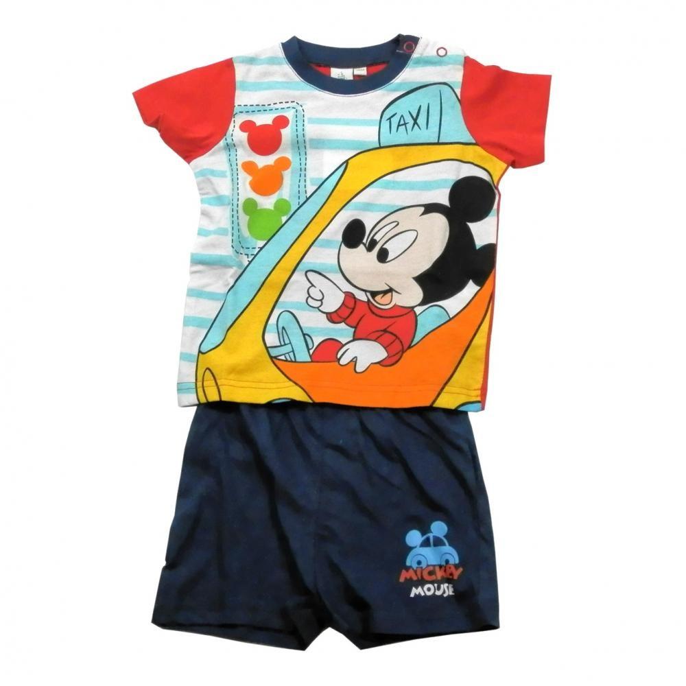 Set tricou cu maneci scurte si pantaloni scurti Disney Mickey Mouse Bleumarin 12 luni