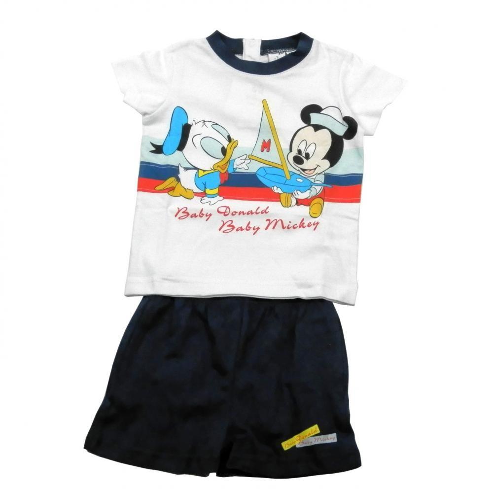 Set tricou cu maneci scurte si pantaloni scurti Disney Disney Classics Bleumarin 18 luni