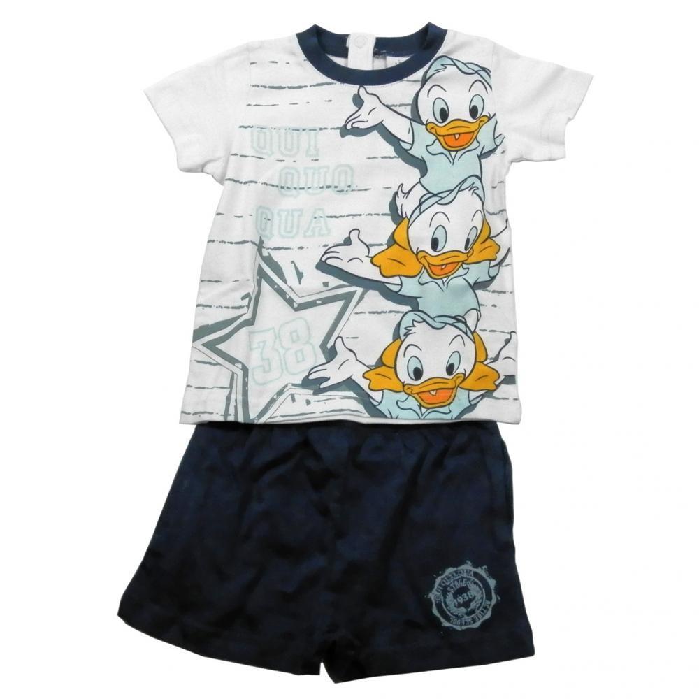 Set tricou cu maneci scurte si pantaloni scurti Disney Donald Alb 18 luni