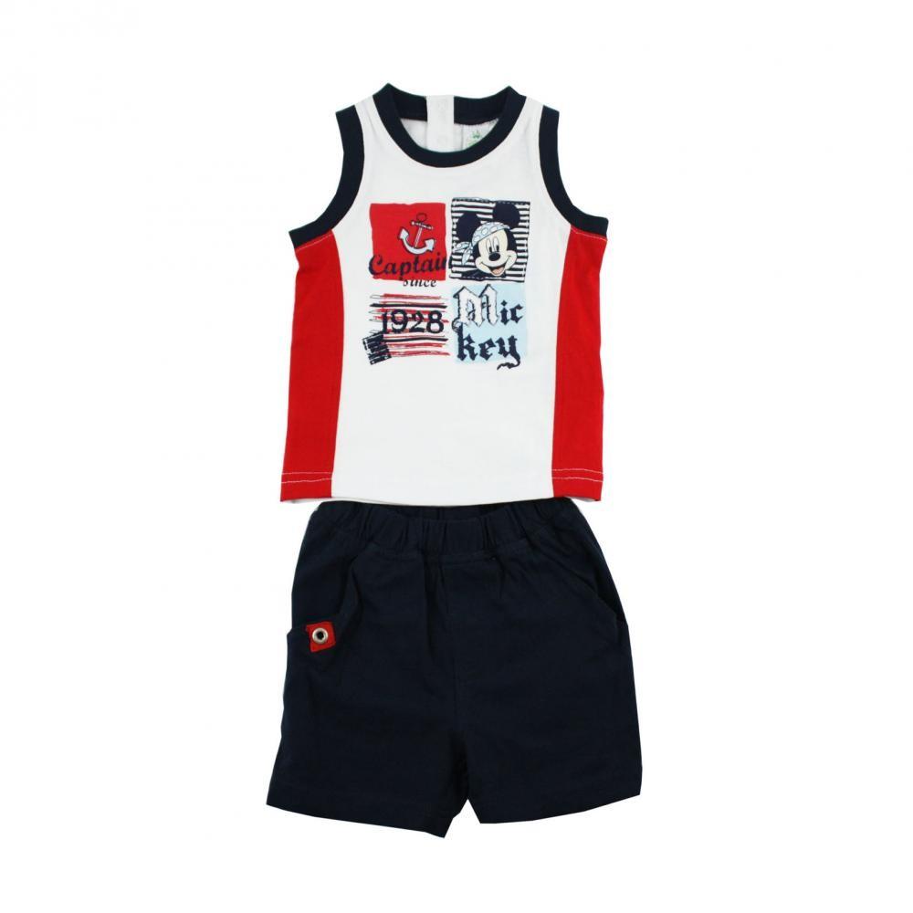 Set tricou fara maneci si pantaloni scurti Disney Mickey Mouse Alb 6 luni