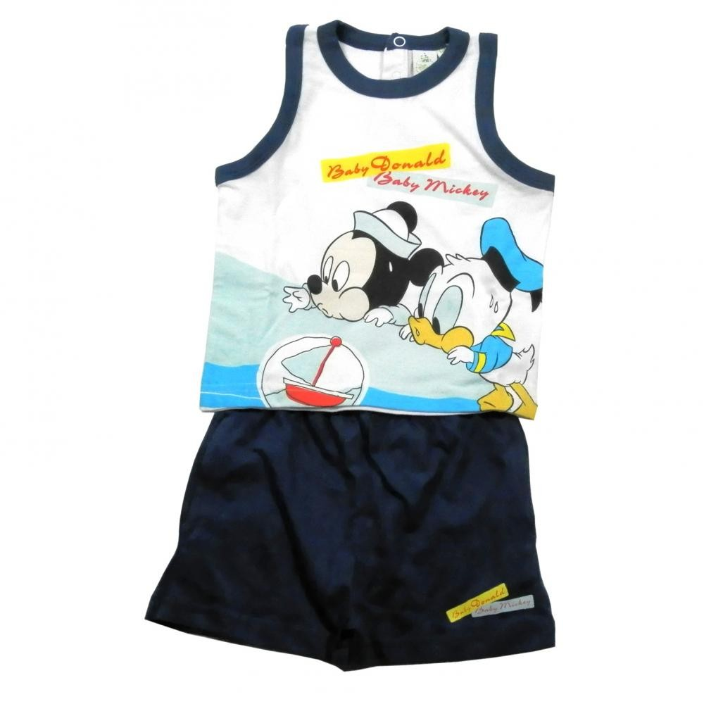Set tricou fara maneci si pantaloni scurti Disney Disney Classics Bleumarin 12 luni