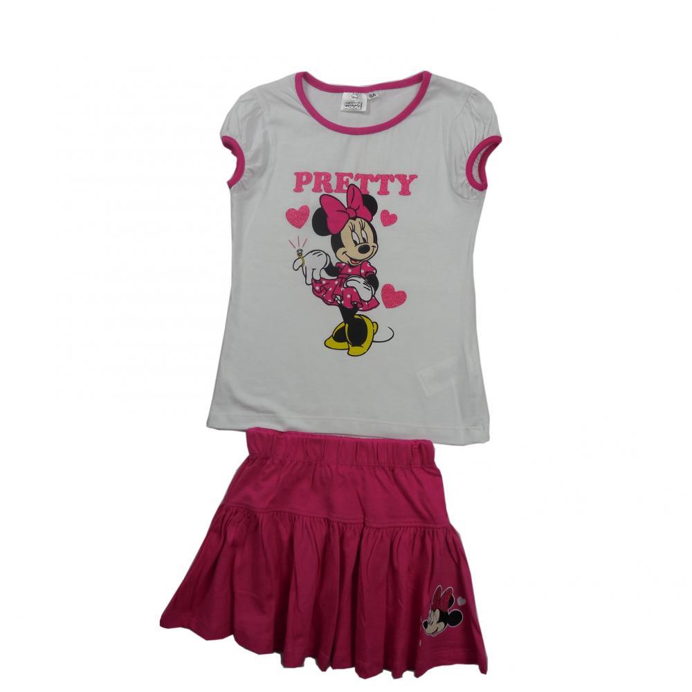 Set 2 piese tricou cu maneci scurte si fusta Disney Minnie Mouse Alb 116 cm