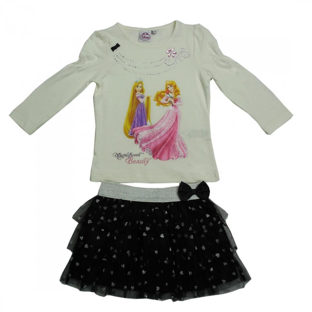 Set tricou cu maneci lungi si fusta Disney Princess 3 ani Alb