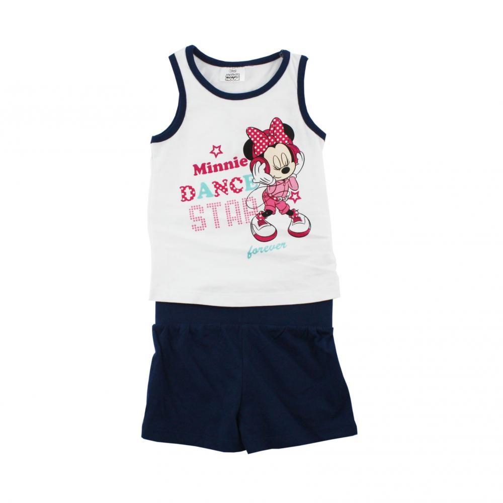 Set tricou fara maneci si pantaloni scurti Disney Minnie Mouse Bleumarin 4 ani