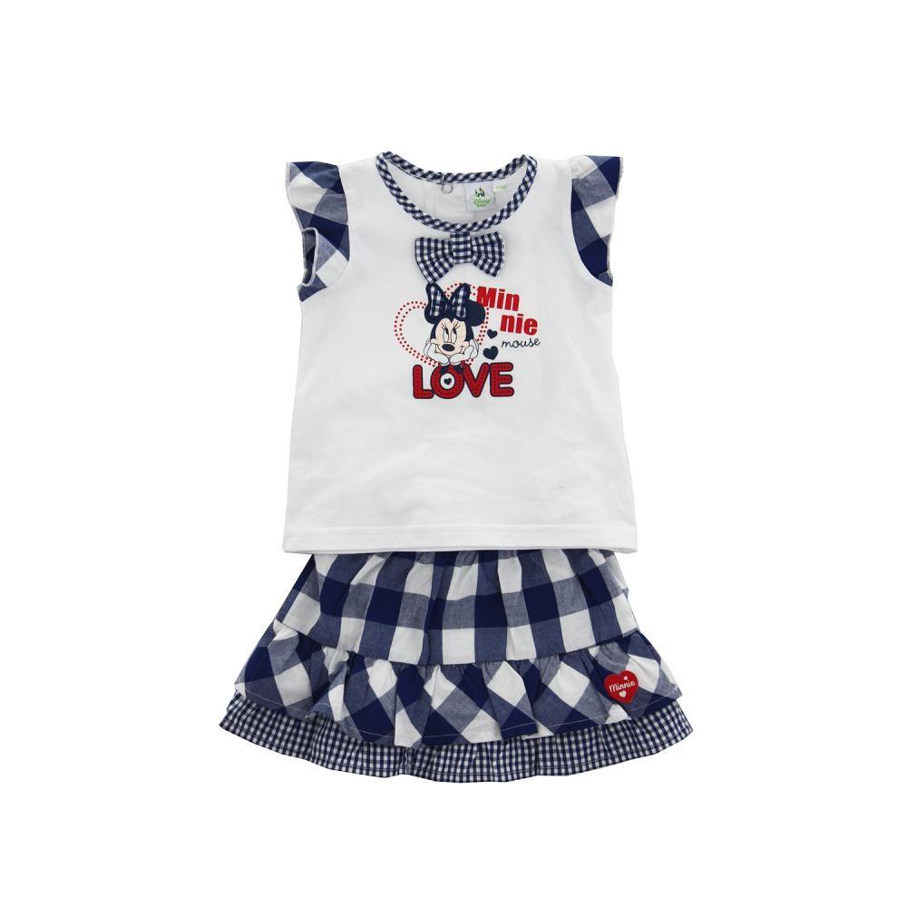 Set tricou cu maneci scurte si fusta Disney Minnie Mouse Albastru 12 luni