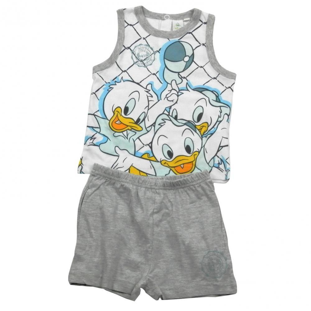 Set tricou fara maneci si pantaloni scurti Disney Donald Gri 12 luni