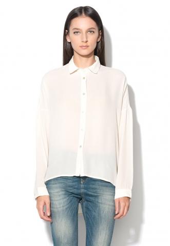 Camasa alb unt asimetrica United Colors Of Benetton