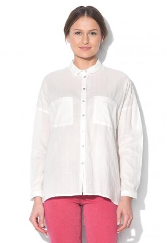 Camasa alb unt cu croiala lejera EDC by Esprit