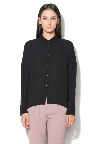 Camasa vaporoasa neagra asimetrica United Colors Of Benetton