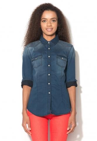 Camasa albastra din denim United Colors Of Benetton