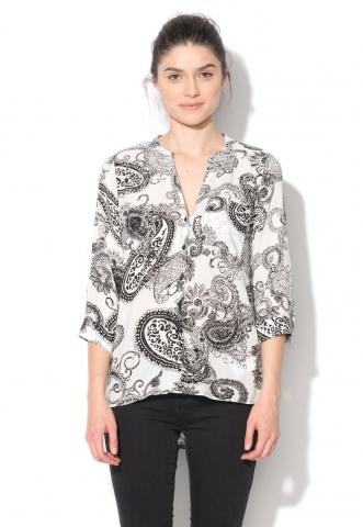 Camasa tip tunica asimetrica negru cu alb Sue Vero Moda