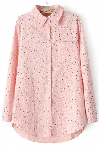 Camasa Roz cu model floral de Dama Creme Couture Bloom Attack