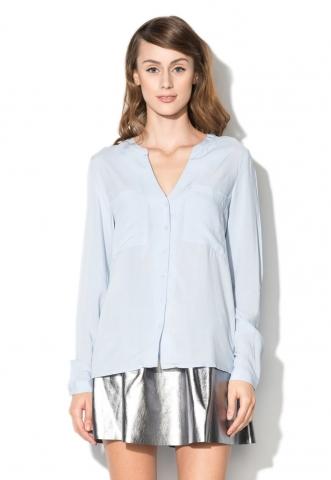 Camasa albastru lavanda cu decolteu in V Iva Vero Moda