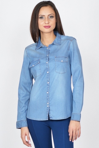 Camasa albastra denim Raspberry cu maneca lunga si capse