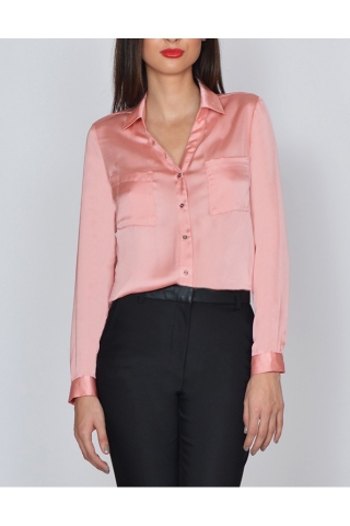 Camasa roz de dama Raspberry satinata cu maneca lunga