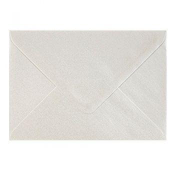 Plic colorat invitatie / felicitare alb sidef 110 x 220 mm