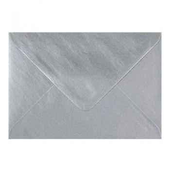Plic colorat invitatie / felicitare argintiu 155 x 155 mm