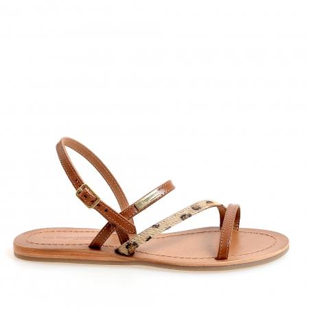 Sandale din piele naturala cu talpa joasa de dama LES TROPEZIENNES cu bareta piele de leopard