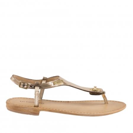 Sandale din piele naturala cu talpa joasa de dama LES TROPEZIENNES cu fete interschimbabile