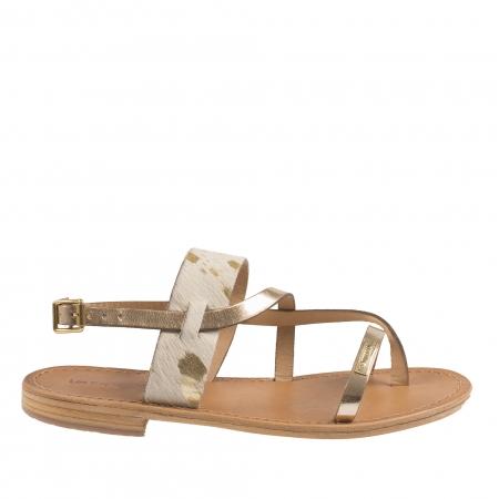 Sandale din piele naturala cu talpa joasa aurii de dama LES TROPEZIENNES cu bareta alba piele de ponei