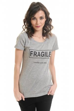 """Tricou cu imprimeu """"I'm fragile handle with care"""" de dama YEPME la baza gatului"""